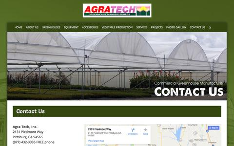 Screenshot of Contact Page agratech.com - Commercial Greenhouse Manufacturer | Metal Structure | Vegetable - captured Jan. 24, 2017
