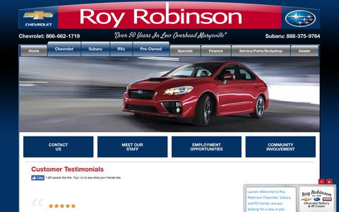 Screenshot of Testimonials Page royrobinson.com - Roy Robinson Testimonials | Read real customer reviews now - captured Oct. 28, 2017