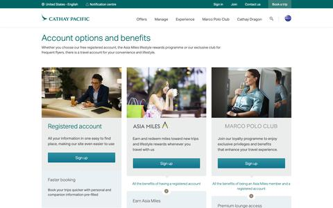 Screenshot of Signup Page cathaypacific.com - Account comparison | Travel Essentials - Cathay Pacific - captured Oct. 11, 2018