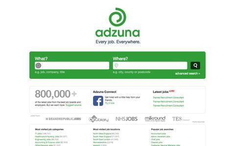 Screenshot of Home Page adzuna.co.uk - Jobs in London, the UK & Beyond | Adzuna - captured Jan. 15, 2015