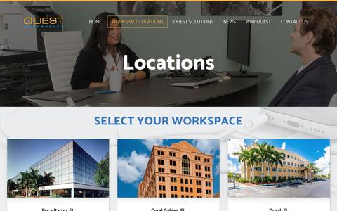 Screenshot of Locations Page questworkspaces.com - Office Space Locations - Quest Workspaces - captured May 25, 2017