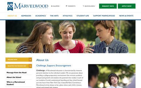 Screenshot of About Page marvelwood.org - About Us - Marvelwood School - captured Nov. 27, 2016