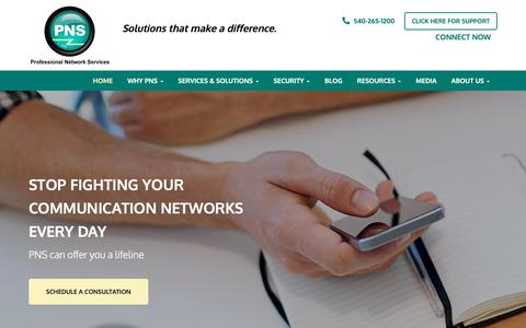 Screenshot of Home Page pnsinc.net - Managed IT Services, Business Telephone Systems, Network Tech Support - Roanoke, Lynchburg, Martinsville   Professional Network Services - captured Sept. 30, 2018