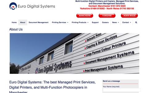 Screenshot of About Page eurodigitalsystems.co.uk - Managed Print Services, Printers and Photocopiers in Manchester, Yorkshire and North Wales - captured Aug. 31, 2017