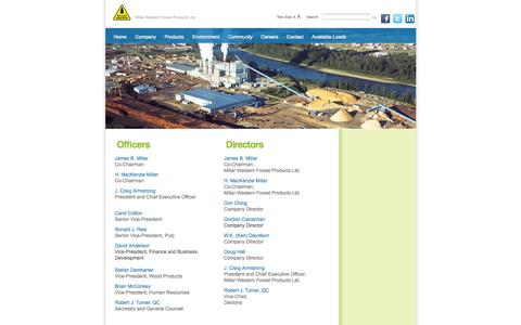 Screenshot of Team Page millarwestern.com - Millar Western Management - captured Oct. 7, 2014