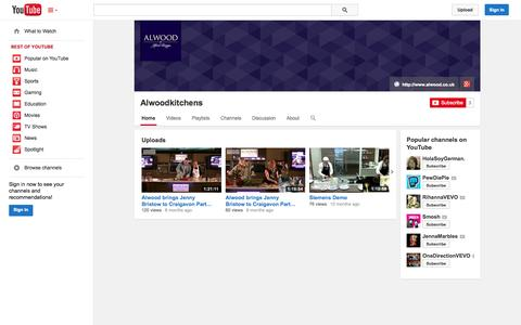 Screenshot of YouTube Page youtube.com - Alwoodkitchens  - YouTube - captured Oct. 23, 2014