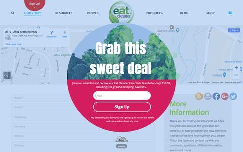 Screenshot of Contact Page eatcleaner.com - Contact Us | Eat Cleaner Fruit + Veggie Wash and Wipes - captured Dec. 12, 2018