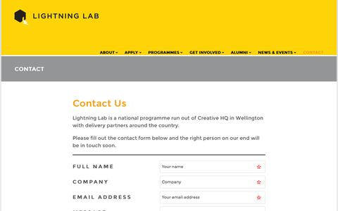 Screenshot of lightninglab.co.nz - CONTACT | Lightning Lab - captured July 21, 2015