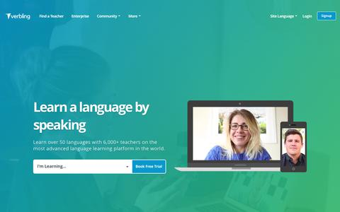 Screenshot of Home Page verbling.com - Verbling - The Modern Way to Learn a Language. - captured Sept. 27, 2018