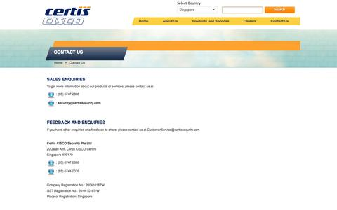 Screenshot of Contact Page certissecurity.com - Contact Us - captured Oct. 2, 2014