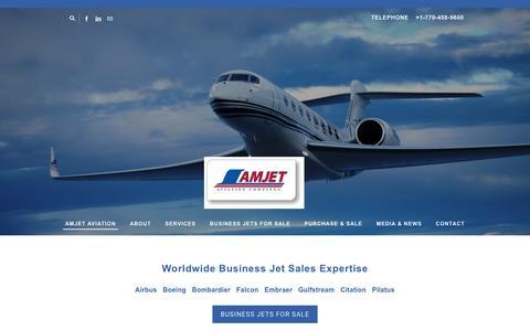 Screenshot of Home Page amjetaviation.com - AMJET AVIATION - Amjet Aviation - Private Jets & Business Jet Aircraft For Sale - captured Feb. 6, 2016