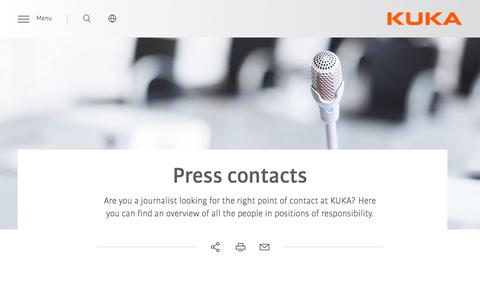 Screenshot of Press Page kuka.com - Press Contacts | KUKA AG - captured Feb. 13, 2020