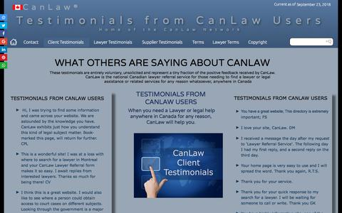 Screenshot of Testimonials Page canlaw.com - Contact us CanLaw testimonials from people like you CanLaw contacts - captured Sept. 23, 2018