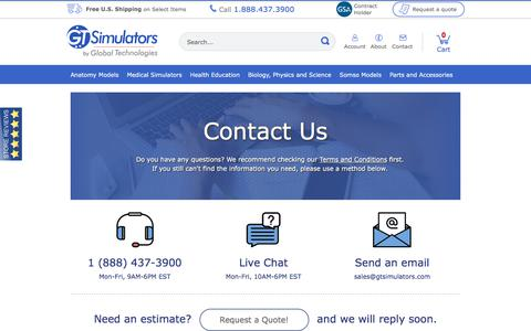 Screenshot of Contact Page Support Page gtsimulators.com - Contact Customer Service | Phone: 1-954-370-7101 | GTsimulators.com - captured Sept. 26, 2018