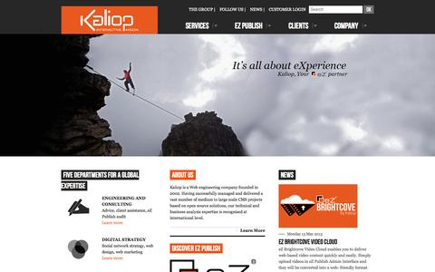 Screenshot of Home Page kaliop.co.uk - Kaliop, Web agency, eZ Publish expert and CMS LAMP Open Source - captured Oct. 6, 2014