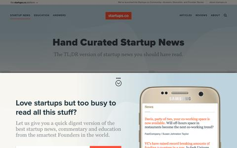 Screenshot of Press Page startups.co - Startup News | Startups.co - captured July 23, 2016