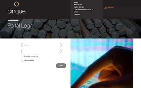 Screenshot of Login Page cinque.co.za - Cinque Client Portal - captured Nov. 6, 2016