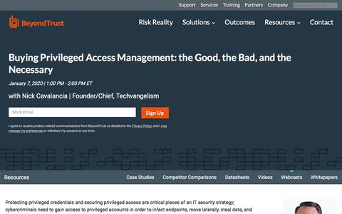 Screenshot of Team Page beyondtrust.com - Buying Privileged Access Management: the Good, the Bad, and the Necessary | BeyondTrust - captured Jan. 3, 2020