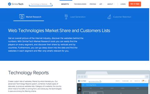 Screenshot of similartech.com - Internet Industry Market Research with SimilarTech - captured March 19, 2016