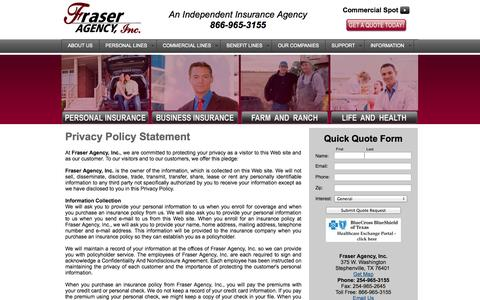 Screenshot of Privacy Page fraseragency.com - Fraser Agency, Inc. - Privacy Policy Statement - captured Oct. 1, 2014