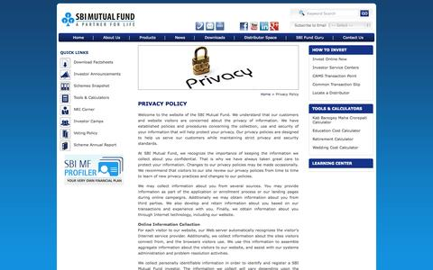 Screenshot of Privacy Page sbimf.com - SBI MF - Privacy Policy - captured Sept. 23, 2014