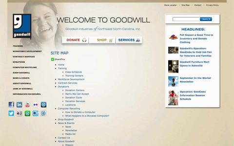 Screenshot of Site Map Page goodwillnwnc.org - Goodwill Industries of Northwest North Carolina, Inc. - captured Sept. 24, 2014