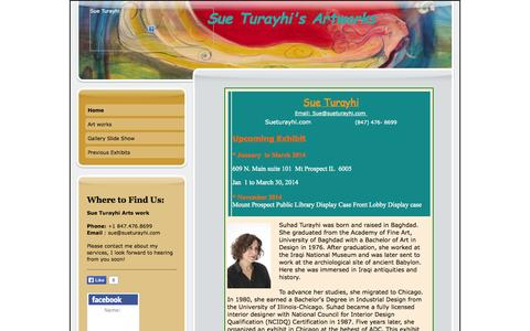 Screenshot of Home Page sueturayhi.com - sue Turayhi art works - captured Oct. 6, 2014