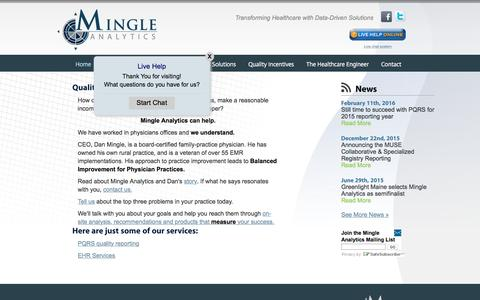 Screenshot of Home Page mingleanalytics.com - Quality is not enough | Mingle Analytics - captured Feb. 23, 2016