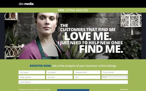 Screenshot of Landing Page dexmedia.com - Dex Media - captured Sept. 29, 2016