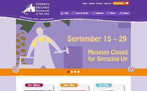 Screenshot of Home Page cdm.org - Children's Discovery Museum of San Jose - Fun and Learning for Bay Area Kids and Families - captured Sept. 19, 2014