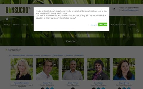 Screenshot of Contact Page bonsucro.com - Contact | Bonsucro - captured Sept. 30, 2014