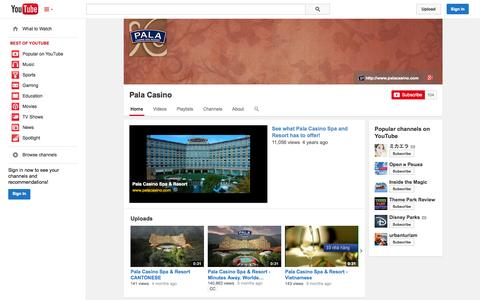 Screenshot of YouTube Page youtube.com - Pala Casino  - YouTube - captured Oct. 22, 2014