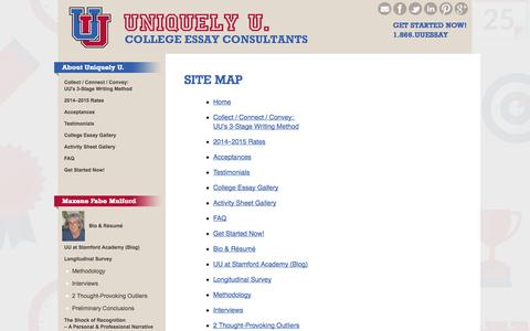 Screenshot of Site Map Page uuessay.com - Site Map | Uniquely U. College Essay Consultants - captured Nov. 3, 2014