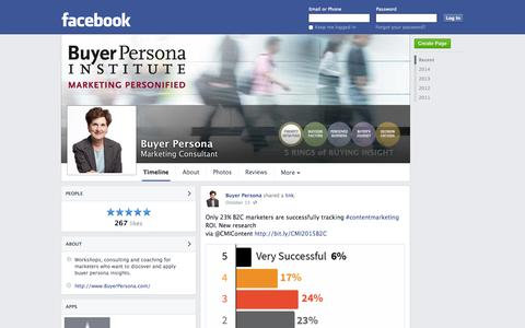 Screenshot of Facebook Page facebook.com - Buyer Persona - Friday Harbor, Washington - Marketing Consultant | Facebook - captured Oct. 23, 2014