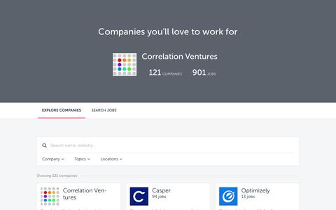 Screenshot of Jobs Page correlationvc.com - Companies | Correlation Ventures Talent Network - captured Sept. 29, 2018