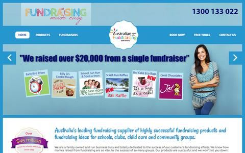 Screenshot of Home Page australianfundraising.com.au - Proven, easy, unique Fundraising Ideas and products - captured Aug. 2, 2015