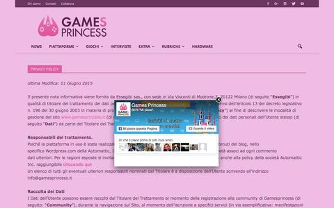 Screenshot of Privacy Page gamesprincess.it - Privacy Policy | Games Princess - captured July 11, 2016