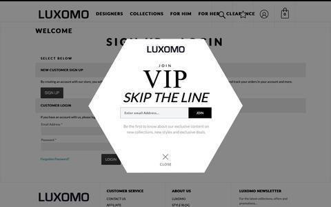 Screenshot of Login Page luxomo.com - Fashion Designer Sunglasses & Luxury Accessories    LUXOMO.com - captured Oct. 18, 2018
