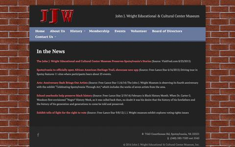 Screenshot of Press Page jjwmuseum.org - In the News » John J. Wright Educational & Cultural Center Museum, Inc. - captured Feb. 11, 2016