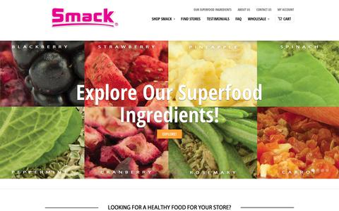 Screenshot of Home Page smackpetfood.com - Smack Pet Food - 5-STAR RATED - Whole Raw Foods | Kibble Convenience - captured Oct. 7, 2014