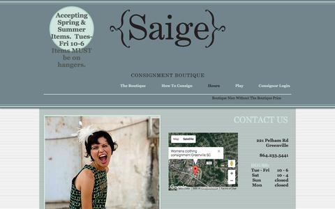 Screenshot of Hours Page saigeconsignment.com - Contact - captured July 6, 2017