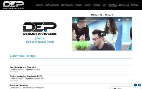 Screenshot of Jobs Page dealereprocess.com - Careers - Dealer eProcess - captured Nov. 25, 2019