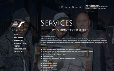 Screenshot of Services Page thompkinsmarketing.com - TC Thompkins |Thompkins Marketing | Services - captured Oct. 7, 2014