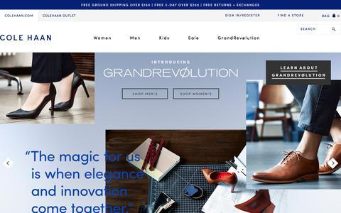 Screenshot of Home Page colehaan.com - Cole Haan: Shoes, Bags & Accessories for Men, Women & Kids - captured Sept. 9, 2016