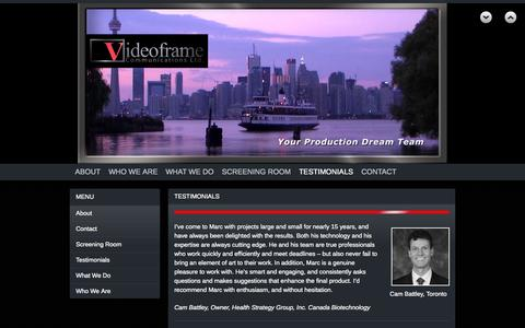 Screenshot of Testimonials Page videoframe.com - Testimonials | Videoframe Communications Ltd. - captured Oct. 26, 2014