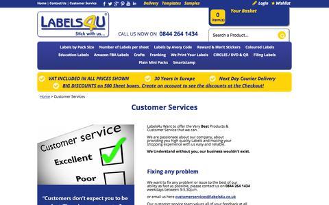 Screenshot of Support Page labels4u.co.uk - customer service from LABELS4U - captured Feb. 17, 2016