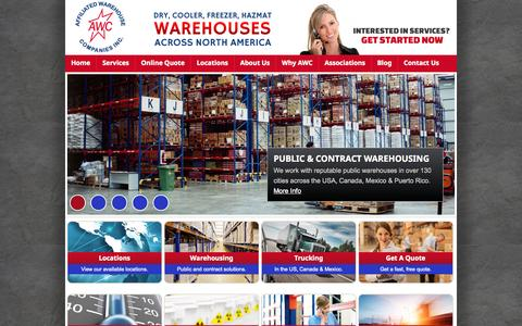 Screenshot of Home Page awco.com - Affiliated Warehouse Companies Inc | Warehousing Services Across North America - captured Oct. 4, 2014