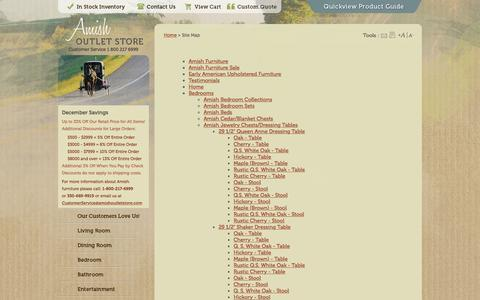 Screenshot of Site Map Page amishoutletstore.com - 33% OFF Amish Furniture: Site Map - captured Dec. 25, 2015