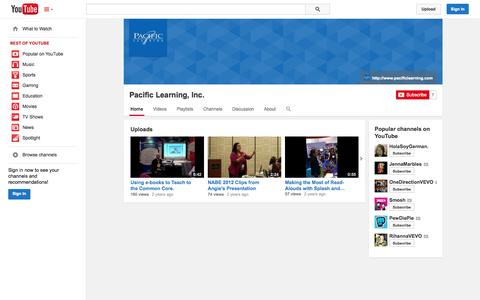 Screenshot of YouTube Page youtube.com - Pacific Learning, Inc.  - YouTube - captured Oct. 22, 2014