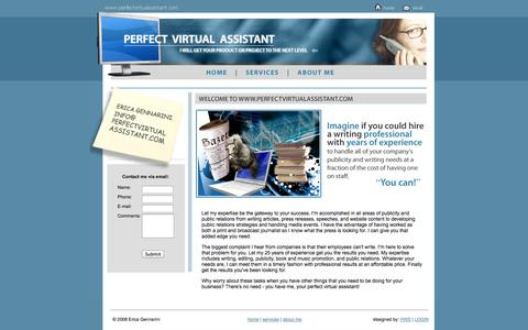Screenshot of Home Page perfectvirtualassistant.com - Perfect Virtual Assistant - Erica Gennarini - captured Sept. 29, 2014